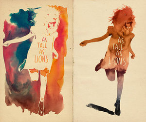 girl, lions, and run image