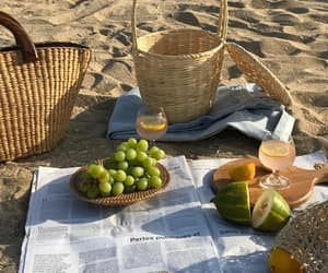 beach, picnic, and fruit image
