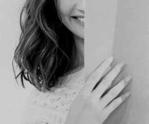 beautiful, smile, and black-and-white image