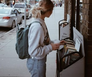 girl, fashion, and book image