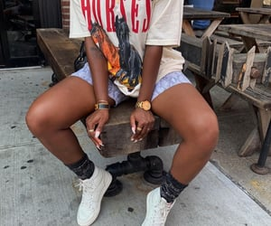 footwear, nails, and gold chains image