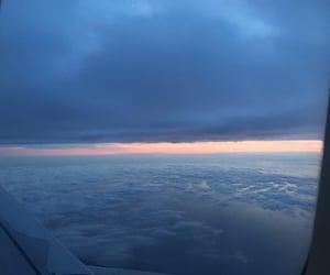 aeroplane, clouds, and sunset image