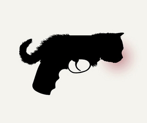 black, cat, and pistol image
