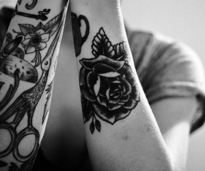 tattoo, rose, and black and white image
