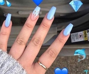 baby blue, blue, and blue nails image