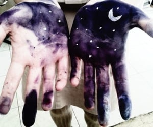 moon, stars, and hands image