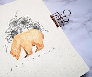 Adorable brown bear x floral theme bullet journal setup, September 2019