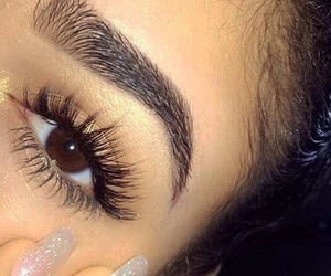 eyebrows, girl, and eyelashes image