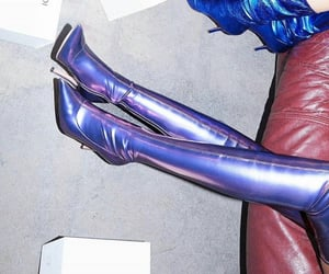 boots, purple, and thigh high image