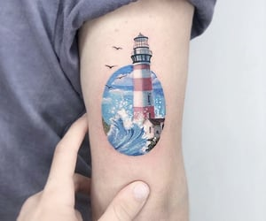 art, lighthouse, and tattoo image