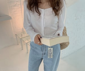 White sheer cardigan and jeans