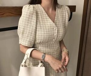 beige, dress, and fancy dress image