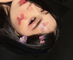 asia, black hair, and pink image