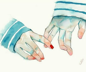 hands, art, and watercolor image