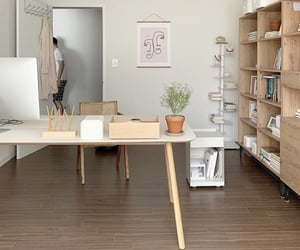 Minimalistic wooden modern office decor