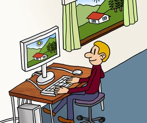 caricatura, cartoon, and computer image