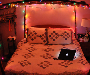lights, bed, and photography image