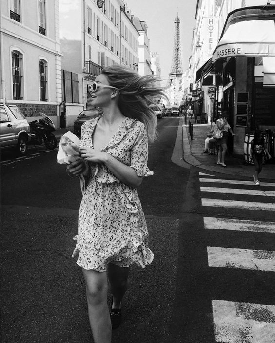 black and white, girl, and city image