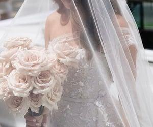 bouquet, wedding, and wedding dress image