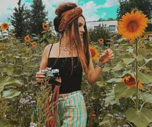 nature, girl, and hippie image