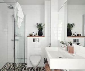 bathroom, black and white, and interior design image
