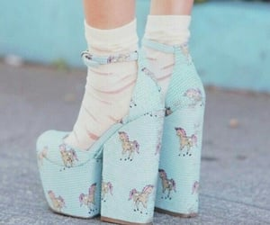 shoes, unicorn, and blue image