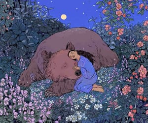 art, bear, and flowers image