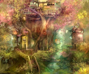 forest, tree house, and art image