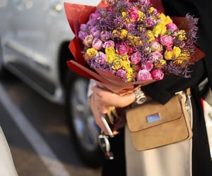 bags, roses, and style image