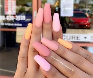 colorful, nails, and pink image