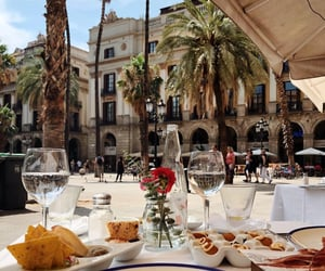 Barcelona, city, and flowers image