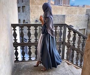 girl, flowers, and hijab image