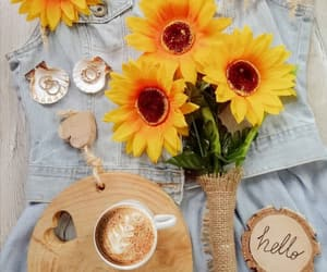 coffee, cup of coffee, and flowers image