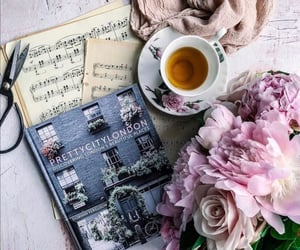 book, bouquet, and cup of tea image