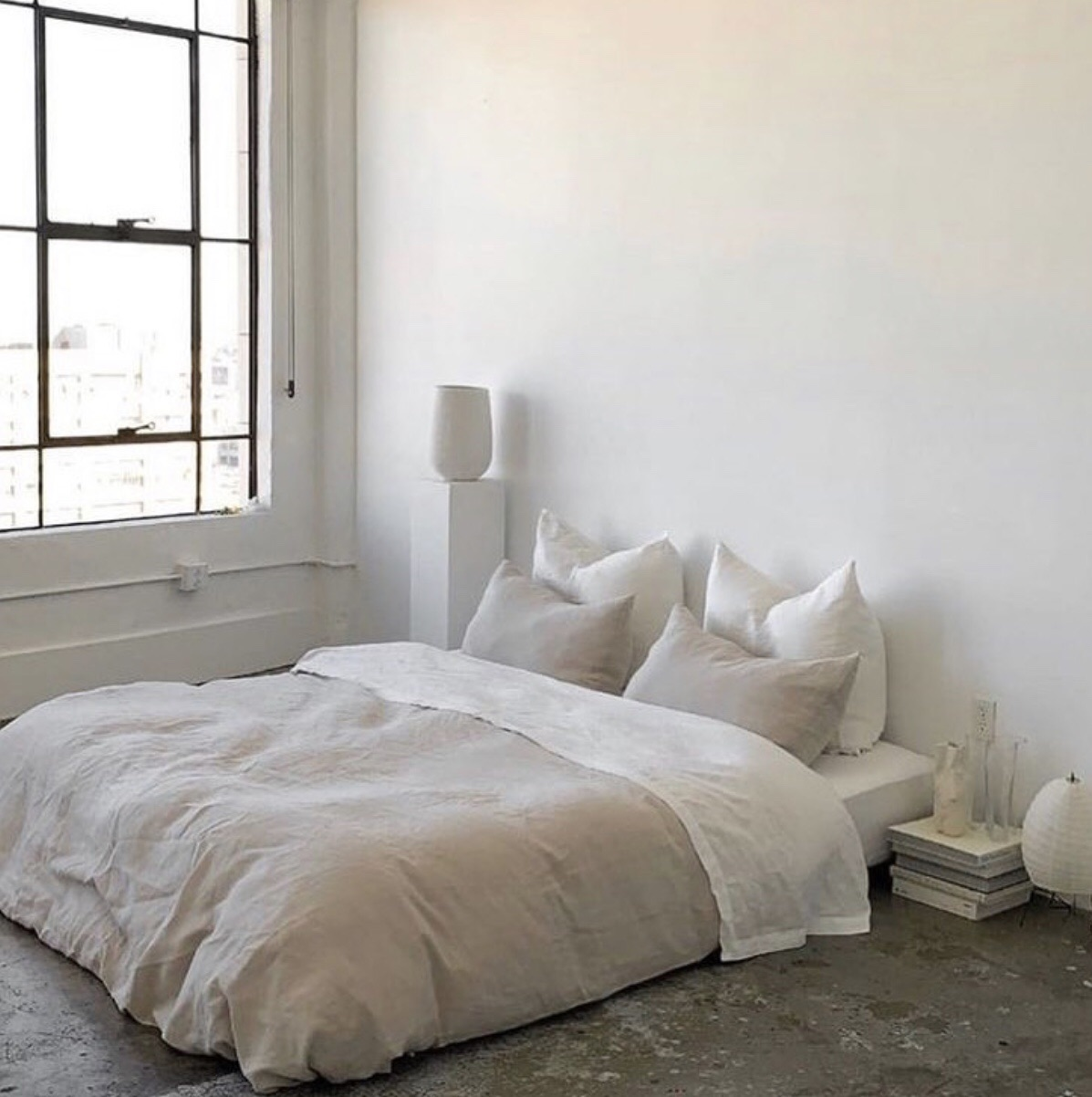 Simple beige & white bedroom on We Heart It