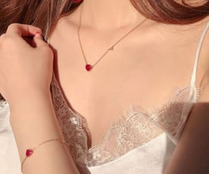 accessory, red heart, and bracelet image