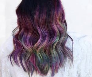 colorful hair, hair, and purple hair image