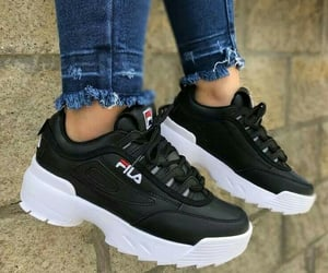 black, Fila, and shoes image