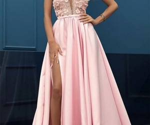 dress, fashion, and pink prom dress image