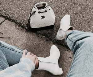 boots, chanel, and denim image