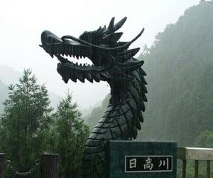 dragon, japan, and rain image