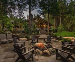 cabin, patio, and firepit image