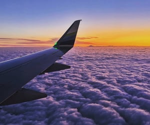 aesthetics, airplane, and clouds image