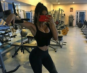 fitness, workout, and mirror selfie image