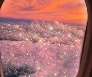 sparkle, sunset, and airplane image