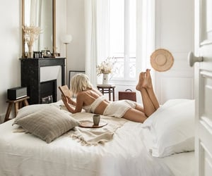 bedroom, blonde hair, and girl image
