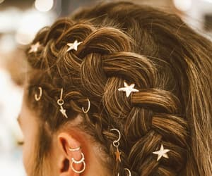hair, stars, and aesthetic image