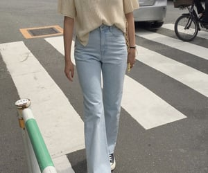 beige, bell bottoms, and casual image