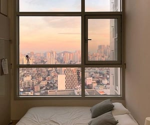 bedroom, city, and room image