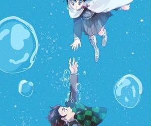 anime girl, water, and tsuyuri kanao image